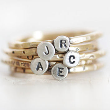 Mothers Ring / Stacking Rings / Gift for Mom / Stacking Rustic Rings / Initial Rings / Mother Rings / Word Rings /  Personalized Rings