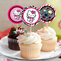 "Hello Kitty - Download 2.25"" Cupcake Toppers, Printable Birthday Party Gift Tags, Toppers, Boy Girl Stickers, Gift Tags"