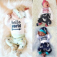 Newborn kids letters and deer printed suit Baby Girls Boys Hello World Tops Romper+Deer Pants Outfits Set Clothes