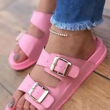 Women Casual Comfy Fashion Pu Double Buckle Decoration Flat Sandals Slippers