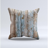 Wood Planks with Peeled Blue Paint Ink-Fuzed Decorative Throw Pillow
