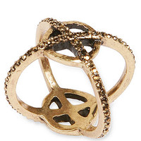 Lucky Brand Gold-Tone Pave XO Criss-Cross Ring