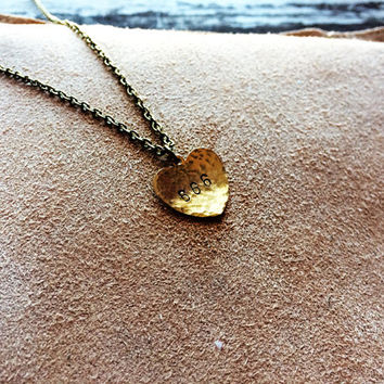 Six six six - Rustic Hammered Stamped Handmade Heart Pendant Necklace - 666 pendant - 666 necklace - Occult Jewelry - Esoteric jewelry- Goth
