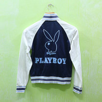 Vintage PLAYBOY Punk Big Logo Nude Hip Hop Embroidery Sweater Sweatshirt Bomber Jacket