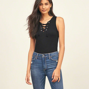Cropped Lace Up Tank