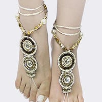 ELABORATE CRYSTAL AND BEADS EMBELLISHED BAREFOOT JEWELRY/SANDAL