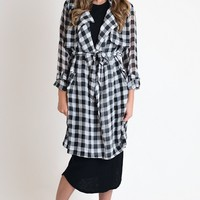 Afternoon Delight Black Plaid Sheer Jacket
