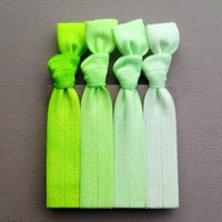 The Kelly Green Ombre Hair Tie Collection  4 by ElasticHairBandz