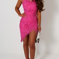 Kenia Fuschia Lace Asymmetric Mini Dress