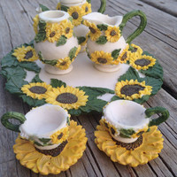 Miniature Poly-Resin Sunflower Tea Set: Fairy Garden, Dolls, Terrarium, Garden Party Decor