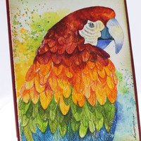 Macaw, OOAK, Watercolor Card, NOT A PRINT, Original Handpainted, Handmade Greeting Card,