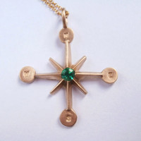 Pablo Valencia- 10K Gold and Emerald Compass Wind Rose Necklace