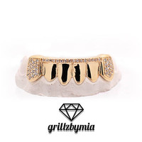 Custom 6 Piece 10K 14K Gold Grillz Bar Diamond Grillz  w/ CZ Lab Diamonds Iced Out Top & Bottom Grill