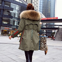 Soperwillton New 2016 Winter Coats Women Jackets Real Large Raccoon Fur Collar Thick Ladies Down & Parkas army green #A050