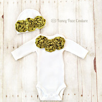 Baby Newborn Girl Take Home Outfit Infant One Piece Onesuit and Baby Hat with Olive Green Rosette's Color of Matilda Jane Baby Shower Gift