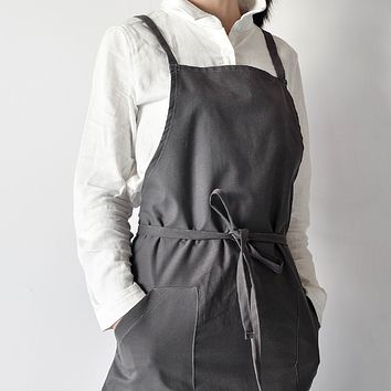 Unisex Soft Cotton Linen Basic Apron for Adults, Japanese-Inspired Style, Charcoal