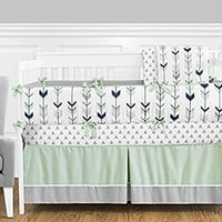 Grey, Navy Blue and Mint Woodland Arrow 9 piece Crib Bed Bedding Set with Bumper for a Newborn Baby Girl or Boy