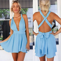 Convertible Strap Romper - Multiple Colors