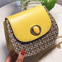 New fashion leather chain shoulder bag crossbody bag Yellow