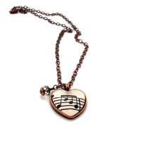 Copper  Heart  Glass Pendant, Music  Necklace, Recycled Paper Jewelry