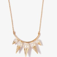 Pretty-Tough Spiked Pearlescent Chain Necklace | FOREVER 21 - 1044245915
