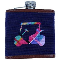 Custom Madras Golf Cart Needlepoint Flask in Dark Navy by Smathers & Branson