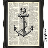 Drop Anchor Nautical Tradition Print on Antique Unframed Upcycled Bookpage