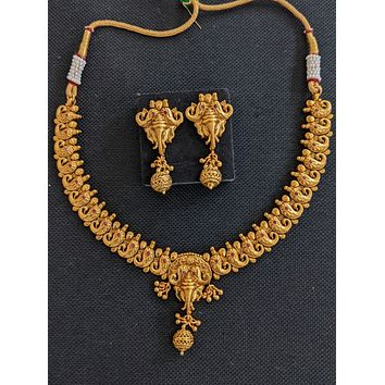 Antique Gold plated Elephant design Mango Choker Necklace and Earrings set