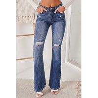 In Your Best Interests Distressed Flare Jeans (Dark)