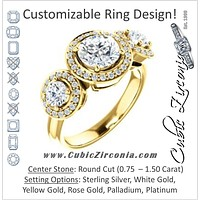 Cubic Zirconia Engagement Ring- The Justine (Customizable Round Cut Center 3-Stone Halo-Style)