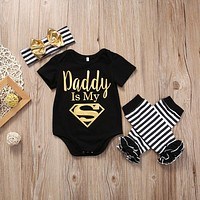 Newborn Baby Boy Girl Clothes Set Short Sleeve Top Bodysuits Leg Warmer Bow Headband 3pcs Clothing Outfits Set