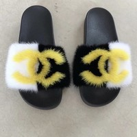 Blaze fox fur slides