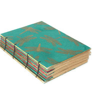 Dragonfly Aqua and Gold Wedding Guest book, Journal or Diary