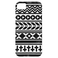 Black White Abstract Urban Aztec Tribal Pattern iPhone 5 Case