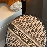 Dior retro canvas printed logo women's round cake bag shoulder messenger bag