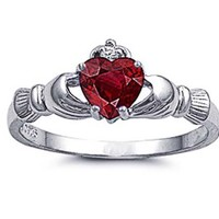 Sterling Silver Rhodium Plated, Heart Red Color CZ Claddagh Ring 9MM