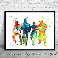 Wizard of OZ Watercolor Print, Wizard of OZ painting,watercolor painting, watercolor art,nursery room baby,for kids, Wizard of OZ art