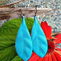 Turquoise Large leaf brass Earrings, nature lover jewelry.