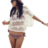Group Sexy Women Sheer Lace Knit Crochet Shawl Beach Cover up Dress:Amazon:Clothing