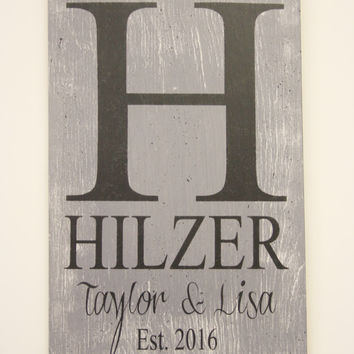 Custom Wood Sign Initial Sign Monogram Sign Personalized Sign Wedding Gift Bridal Shower Gift Housewarming Gift Distressed Wood Handmade