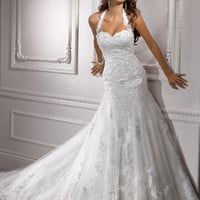 Ivory Embellished Lace on Tulle Sweetheart Halter Drop Waist Camden Wedding Gown - Unique Vintage - Prom dresses, retro dresses, retro swimsuits.