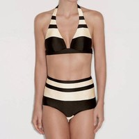 Sexy Summer Women Halter Yellow Coffee Stripe High Waist Two Piece Bikini Swimsuit Bathing