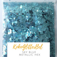 Metallic Glitter Hex- Sky Blue