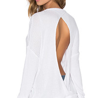 Thermal Open Back Long Sleeve Pullover in White