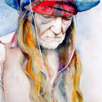 Art Print--Willie Nelson--watercolor painting--Country Music Icon, ART, Custom watercolor portrait painting