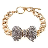 Goldtone with Clear Iced Out Large 3d Bow 8 Inch Cuban Chain Link 12mm Adjustable Bracelet