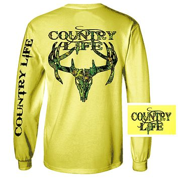 Country Life Outfitters Yellow Camo Realtree Deer Skull Head Hunt Vintage Unisex Long Sleeve Bright T Shirt