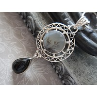 Dendritic Agate & Onyx .925 Sterling Silver Pendant/Necklace
