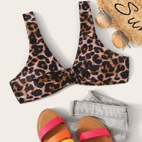 Leopard V Neck Swimming Top