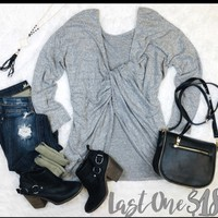 Never Looking Back Twist Back Sweater: Grey